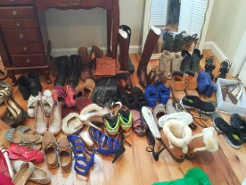 All my shoes on the floor